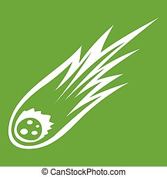 désirent ardemment queue, vert, météore, tomber, icône