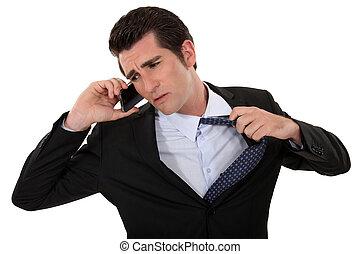 désireux, homme, fin, téléphone, conversation