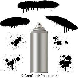 désodorisant, bidon peinture, métal, poison., pulvérisation, graffiti, aérosol, bouteille, produits chimiques, ménage