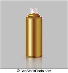 désodorisant, doré, poison., boîte, métal, graffiti, pulvérisation, aérosol, bouteille, produits chimiques, peinture, ménage