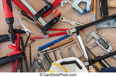 désordre, beaucoup, différent, outils