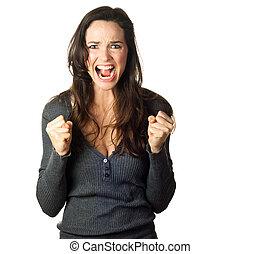 désordre, femme, frustré, fâché