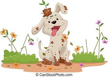 désordre, fleurs, jardin, chien
