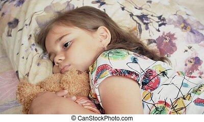 désordre, girl, malade, mensonge, lit, enfant