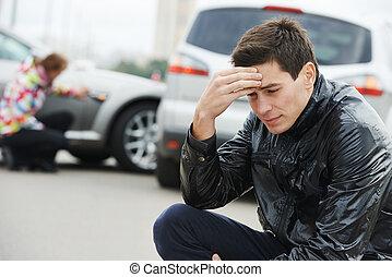 désordre, homme, après, accident voiture