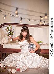 désordre, mariée, manier, a, bouquet mariage