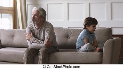 désordre, papy, conflit, vieux, petit-fils, concept, ...