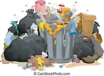désordre, sacs, déchets