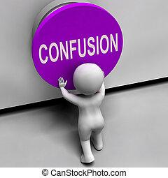 désorienté, embarrassé, moyens, confusion, bouton, confondu