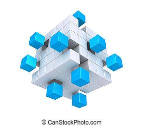 détaché, cubes, carrée, objet