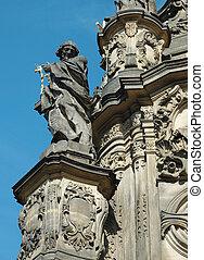 détail, colonne, trinité, saint, olomouc