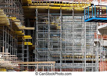 détail, construction, échafaudage, site