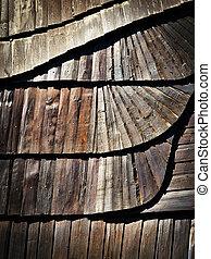 détail, de, bois, bardeau, toit, à, a, tilde