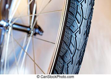 détail, de, caoutchouc, pneu, de, nouveau, vélo