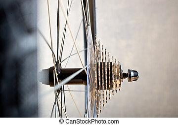 détail, de, change-, vitesse, et, chaîne, de, nouveau, vélo