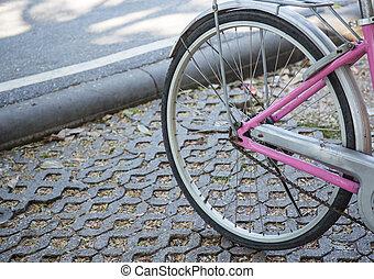 détail, de, les, roue bicyclette