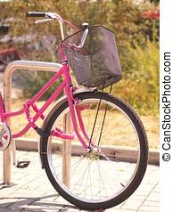 détail, de, rose, vélo, devant