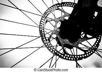 détail, de, roue bicyclette