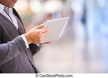 détail, de, tablette, dans, main
