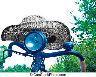 détail, de, vieille bicyclette, à, a, été, hutte