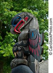 détail, duncan, canada, colombie britannique, mât totémique