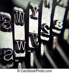 détail, machine écrire