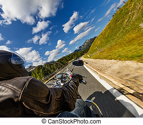 détail motocyclette, handlebars., extérieur, photographie, alpin, paysage