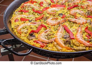 détail, traditionnel, cuit, paella, espagnol, moule