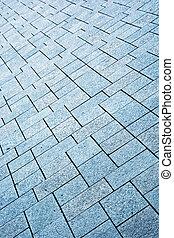 détail, trottoir, pierre, élément architectural