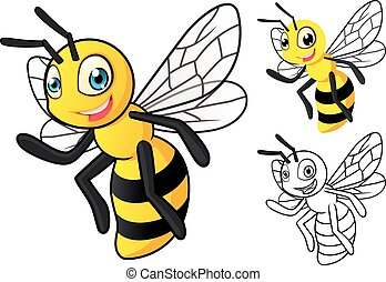 détaillé, abeille miel, dessin animé