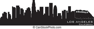 détaillé, angeles, silhouette, los, vecteur, californie, skyline.