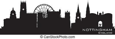 détaillé, angleterre, illustration, silhouette., vecteur, nottingham, skyline.