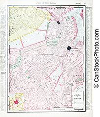 détaillé, antiquité, boston, carte, rue, massachusetts