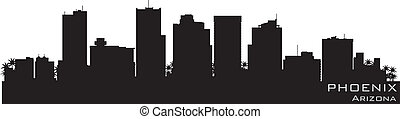 détaillé, arizona, silhouette, phénix, vecteur, skyline.