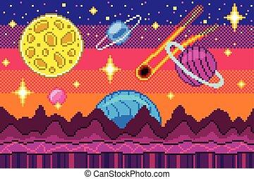 détaillé, art, illustration espace, vecteur, fond, pixel