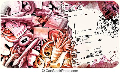 détaillé, artiste, dessin animé, griffonnage, dessiné, main, banner., illustrations.