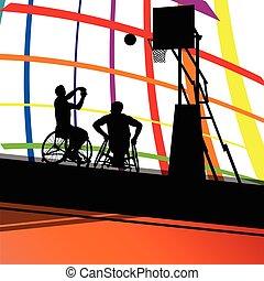 détaillé, basket-ball, silhouette, fauteuil roulant, hommes, illustration, handicapé, joueurs, concept, fond, sport