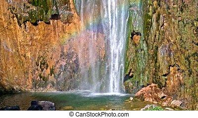 détaillé, beau, parc national, plitvice, chutes d'eau, vue