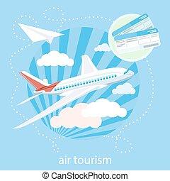 détaillé, bleu, nuages, voler, ciel, par, avion