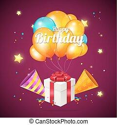 détaillé, boîte, couleur, concept., anniversaire, réaliste, vecteur, présent, ballons, carte, 3d