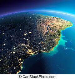 détaillé, brésil, est, earth., côte