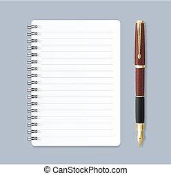 détaillé, cahier spirale, réaliste, vecteur, pen., revêtu, 3d