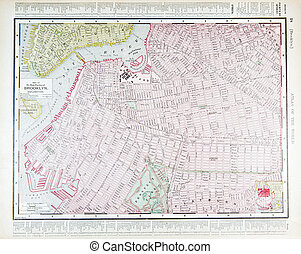 détaillé, carte antique, brooklyn, ny, rue, new york