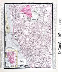 détaillé, carte antique, couleur, rue, york, nouveau, buffle