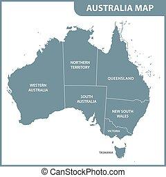 détaillé, carte, australie, régions