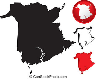 détaillé, carte, canada, nouveau brunswick
