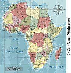 détaillé, carte, projection., afrique, politique, séparé, ...