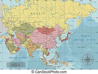 détaillé, carte, projection., politique, asie, séparé, ...