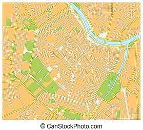 détaillé, carte, rue, capital, autrichien, vienne