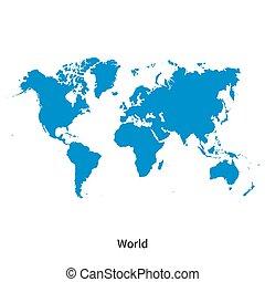 détaillé, carte, vecteur, mondiale